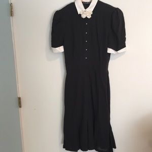 Vintage Escada black dress with white trim
